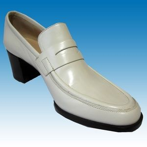 New CALVIN KLEIN Heels Loafers 6 Off White